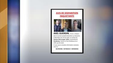 L'avis de recherche d'Axel Guerdin, disapru près de Strasbourg dans la nuit du 8 au 9 décembre 2018.
