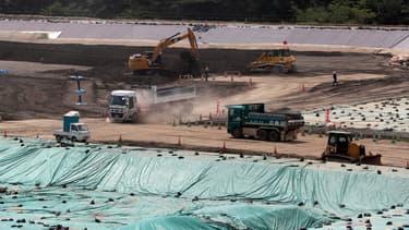 L'usine temporaire de stockage des déchets nucléaires provenant d'Okuma, préfecture de Fukushima, le 27 août 2019