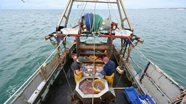 Un bateau de pêche au large des cotes du sud-est de l'Angleterre, le 12 octobre 2020
