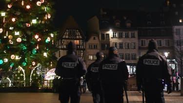 Des policiers dans les rues de Strasbourg, capitale Européenne touchée par un attentat mardi 11 décembre.