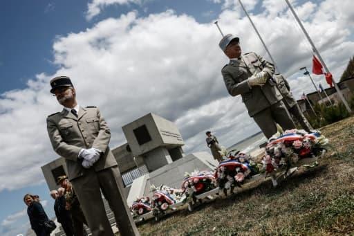 Cérémonie à Vierville-sur-Mer, le 6 juin 2020, marquant le 76e anniversaire du Débarquement allié en Normandie