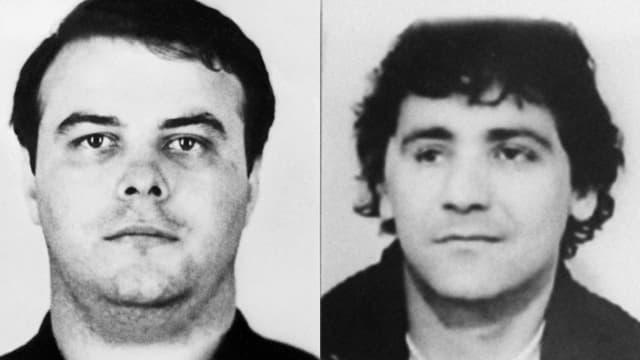 """Laurent Fiocconi, à gauche, dans une photo datée de 1970, et Ange Buresi, à droite, dans une photo non datée. Tous deux font partie des prévenus au procès de la """"Papy connection"""""""