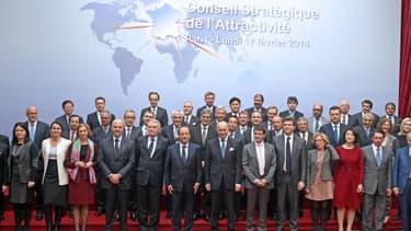 François Hollande recevait ce lundi 17 février une trentaine de grands patrons et d'investisseurs étrangers.