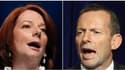 L'Australie s'achemine vers un Parlement sans majorité claire, au soir des élections de samedi qui n'ont pas départagé les travaillistes du Premier ministre Julia Gillard (à gauche) et l'opposition libérale-nationale menée par Tony Abbott (à droite). /Pho