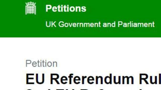 Capture d'écran de la pétition en ligne réclamant un deuxième référendum sur l'Union européenne