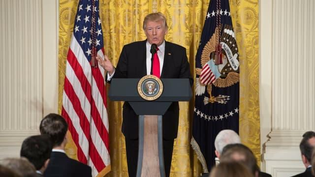 Donald Trump lors de sa conférence de presse à la Maison blanche.