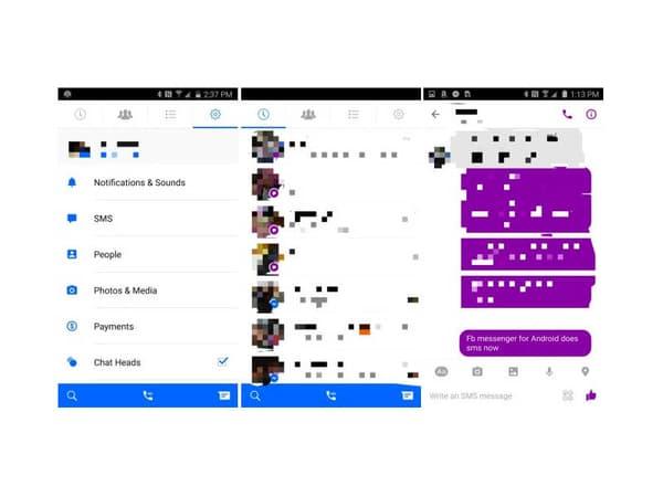 La nouvelle interface de Messenger, dont un volet est consacré à la réception de SMS