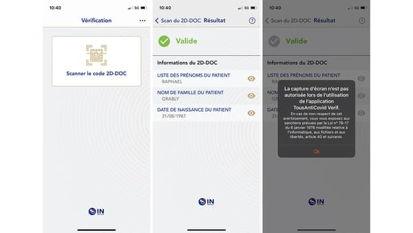 Capture d'écran de l'application TousAntiCovid Verif