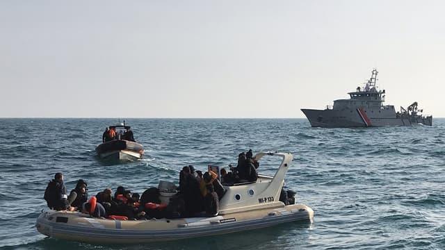 Des migrants secourus dans la Manche en février 2019 (illustration)