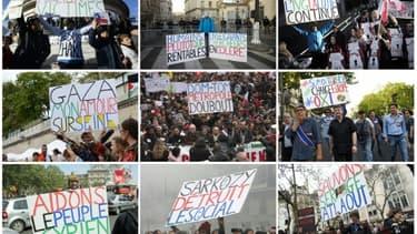 Photos montrant Jean-Baptiste Reddé, alias Voltuan, et ses fameuses pancartes, prises au cours de différentes manifestations à Paris entre 2009 et 2015