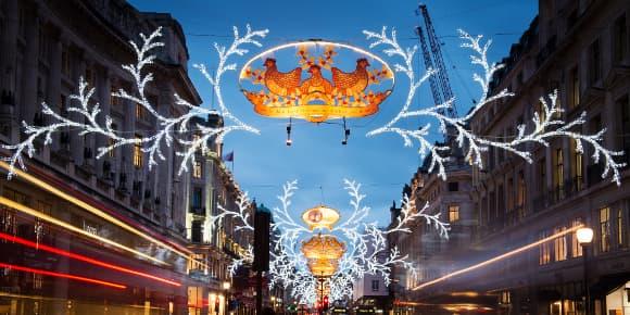 Le centre de Londres, le 18 décembre 2013, décoré aux couleurs de Noël