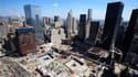 """Vue aérienne des emplacements des deux tours jumelles du World Trade Center à New York. Neuf ans après les attentats du 11-Septembre, le risque terroriste qui pèse sur les Etats-Unis a changé de nature et la menace est de plus en plus une """"menace intérieu"""