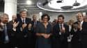 Claude Bartolone, Stéphane Le Foll, Myriam El Khomri, Manuel Valls et Jean-Christophe Cambadélis mercredi soir en meeting à Paris.