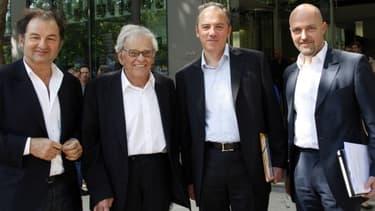 Denis Olivennes, Claude Perdriel, Stéphane Richard et Pierre Louette présentant leur offre de rachat du 'Monde' en 2010