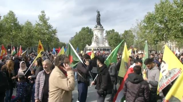 Manifestation de soutien aux Kurdes du Rojava, ce samedi 12 octobre 2019 à Paris.