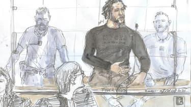 Le jihadiste français Tyler Vilus lors de son procès à Paris le 25 juin 2020