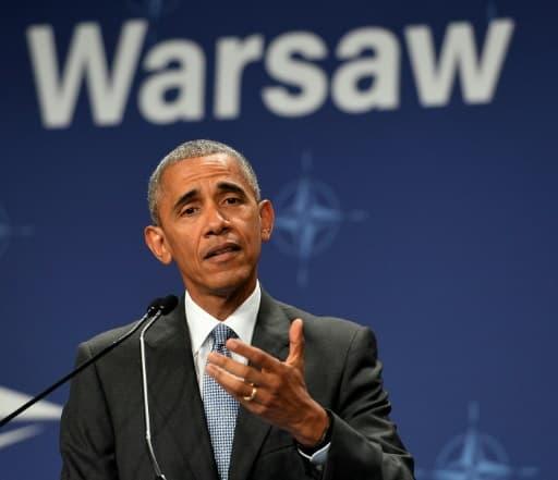 Barack Obama lors d'une conférence de presse pendant le sommet de l'Otan à Varsovie le 9 juillet 2016