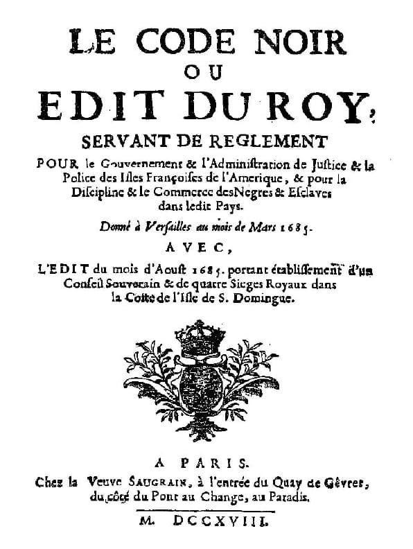 Première page du Code Noir 1685