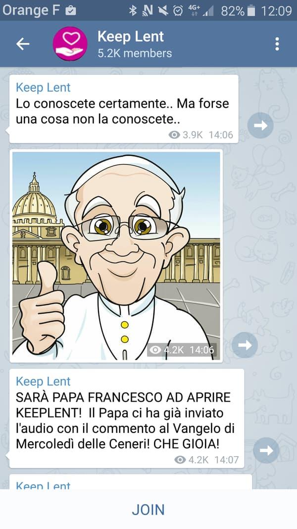 Capture d'écran de la chaîne «Keep Lent» sur Telegram