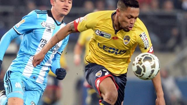 Mickaël Alphonse, face à l'OM de Florian Thauvin en 8es de Coupe de la Ligue (1-1, 4-3 t.a.b. pour Sochaux).