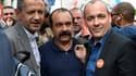 Les leaders des trois principaux syndicats: Pascal Pavageau (FO), Philippe Martinez (CGT) et Laurent Berger (CFDT) rassemblés à la grève des fonctionnaires, le 22 mai.