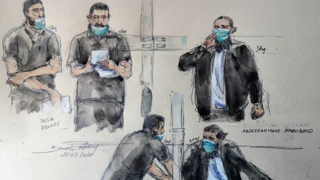 Croquis du procès de Réda Kriket (les trois à gauche Reda Kriket; les deux à droite Abderrahmane Ameuroud) le 8 mars 2021, Paris.