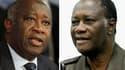 L'appel à la grève générale en Côte d'Ivoire lancé par Alassane Ouattara (à droite) pour tenter de forcer son rival Laurent Gbagbo (à gauche) à céder le pouvoir a été peu suivi lundi à Abidjan, où beaucoup d'habitants se sont rendus à leur travail par néc