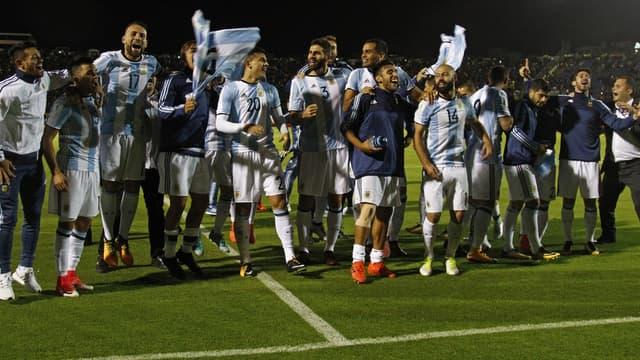 Les joueurs argentins fêtent la qualif'