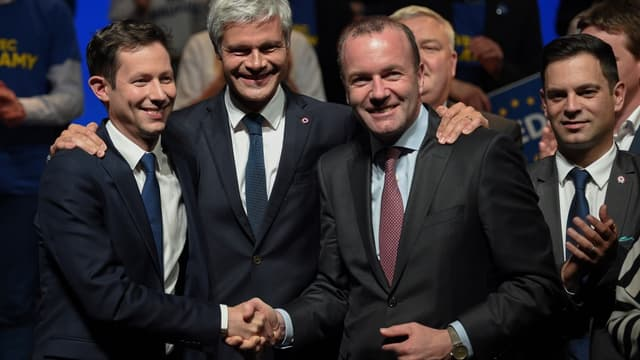 François-Xavier Bellamy, Laurent Wauquiez et Manfred Weber, président du groupe PPE au Parlement européen, le 26 avril 2019 à Strasbourg