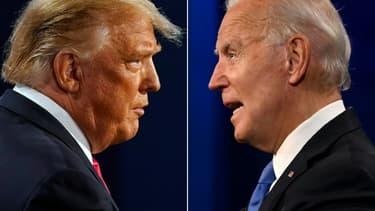 Photo montage avec Donald Trump (g) face à Joe Biden tous deux photographiés le 22 octobre 2020