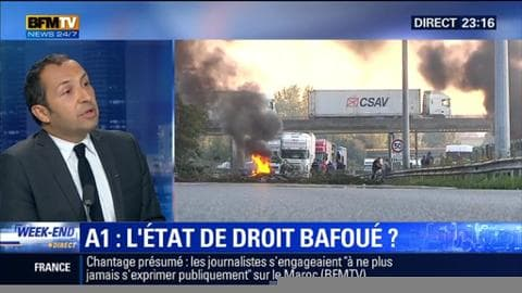 """Blocage de l'autoroute A1: """"On a un gouvernement qui est incapable de ramener l'ordre et la sécurité dans ce pays, Sébastien Chenu"""