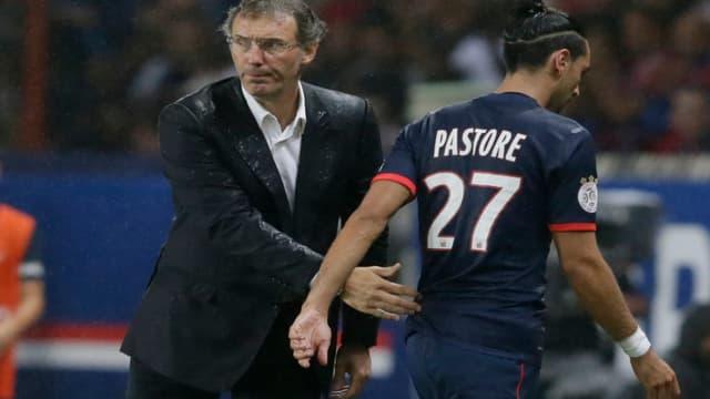 Laurent Blanc avec Javier Pastore