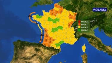 24 départements placés en vigilance orange pour risques de crues ou de vagues-submersion, le 30 janvier 2021