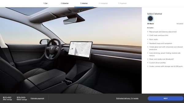 A l'intérieur de la Model 3 à 35.000 dollars.