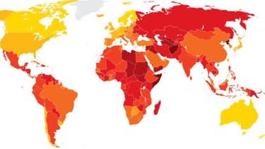 """En clair les pays les plus vertueux selon Transparency International et en foncé les plus """"corrompus""""."""