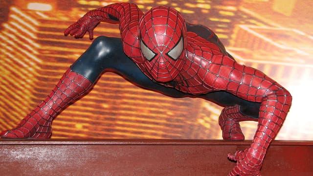 La statue de cire de Spider-Man au musée Madame Tussauds à Londres.