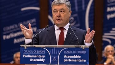 Le président ukrainien Petro Poroshenko au Conseil de l'Europe à Strasbourg, le 11 octobre 2017
