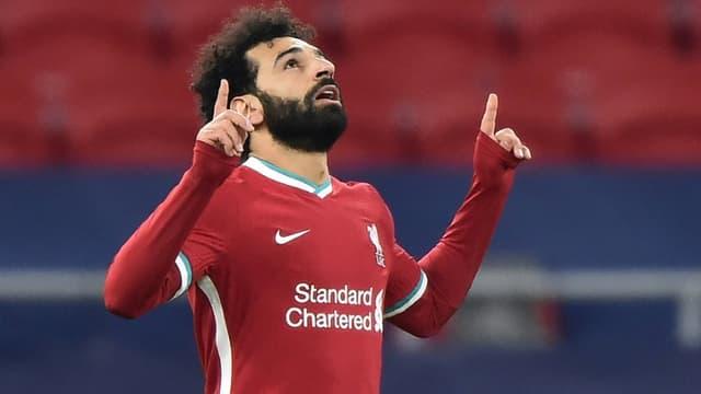 Le milieu égyptien de Liverpool, Mohamed Salah, buteur lors du 8e de finale retour de la Ligue des champions contre Leipzig, à Budapest, le 10 mars 2021