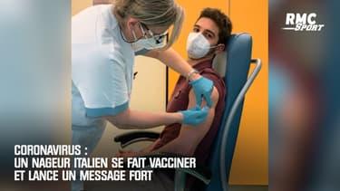 Coronavirus : Un nageur italien se fait vacciner et lance un message fort