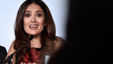 """Salma Hayek lors de la conférence de presse du film """"Tale of tales"""""""