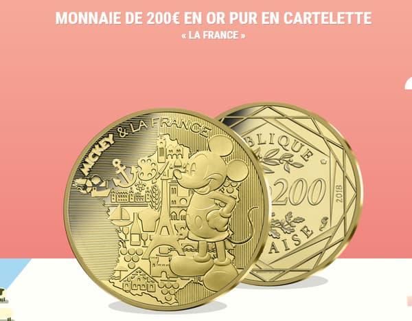 Une pièce d'or de Mickey de 200 euros