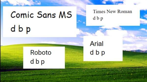 La Comic Sans MS n'est pas symétrique, ce qui la rendrait plus lisible pour les dyslexiques