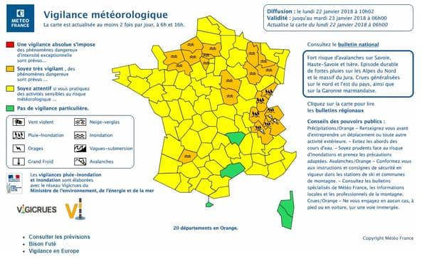 Les alertes orange inondations de Meteo France