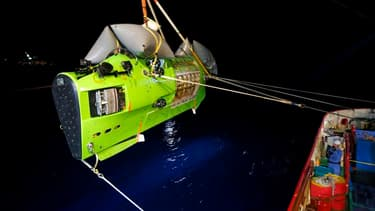 Le submersible avec lequel le cinéaste James Cameron est parvenu à atteindre le fond de la Fosse des Mariannes en 2012 (PHOTO D'ILLUSTRATION)