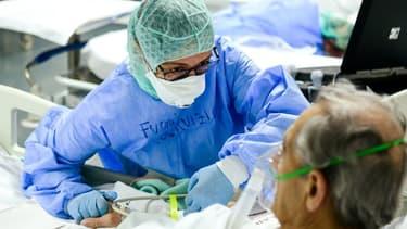 Une personne hospitalisée en Italie en pleine crise du coronavirus (Photo d'illustration).