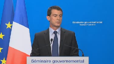 Manuel Valls s'exprimait en marge du séminaire gouvernemental à l'Elysée.