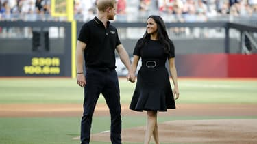 Meghan et Harry, le 29 juin, avant un match de baseball opposant New York Yankees et the Boston Red Sox au London Stadium.