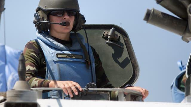 Un membre irlandais de la force Undof, ce dimanche 31 août sur le plateau du Golan.