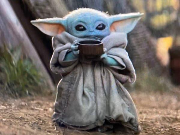 Baby Yoda Drinking Soup