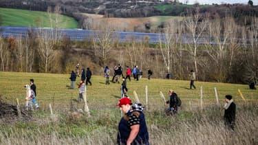 Une battue citoyenne organisée dans le Tarn, dans le cadre de l'enquête sur la disparition de Delphine Jubillar, le 23 décembre 2020
